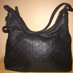 GUCCI GUCCISSIMA LEATHER LOGO INDY HOBO PURSE